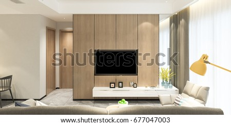 Merveilleux Modern Living Room   Sofa With TV On Wall Elevation / 3d Render