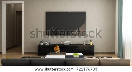 Modern Living Room Sofa Tv On Stock Illustration 721176733