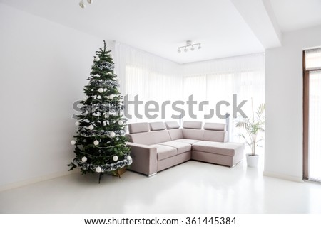 Modern living room space, comfortable sofa and christmas tree in large suite. Contemporary designer mansion - stock photo