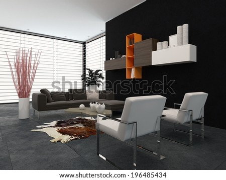 Modern living room with a glass wall covered by a blind, wall-mounted shelves and a comfortable lounge suite in shades of grey with small colored accents - stock photo