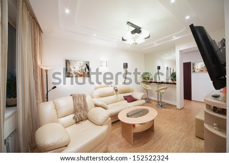 Modern living room with a sofa, an armchair, a big mirror and TV - stock photo