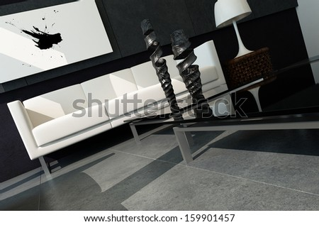 Modern living room with black stone wall and abstract painting