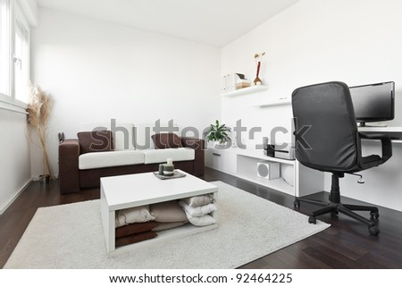 Miraculous Modern Living Room Computer Desk Screen Stock Photo 92358796 Largest Home Design Picture Inspirations Pitcheantrous