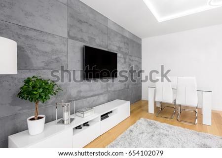 Modern living room decorative concrete wall stock foto 654102079