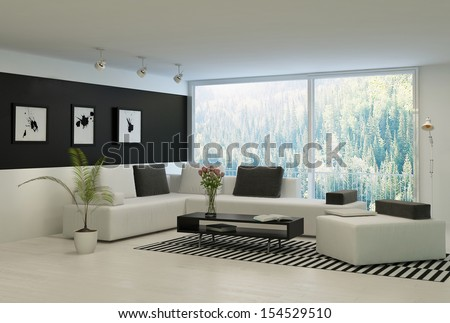 Modern living room with huge floor to ceiling windows and nice furniture - stock photo