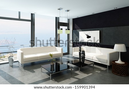 Modern living room with huge windows and black stone wall - stock photo