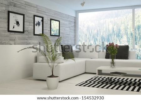 Modern living room with huge windows and stone wall - stock photo