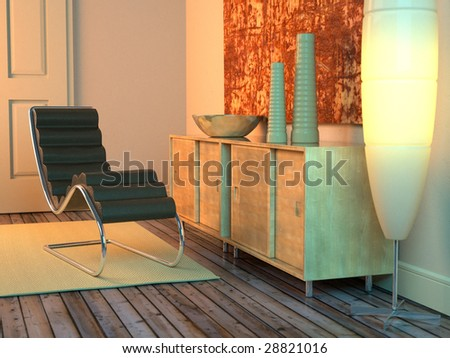 Modern living room with lamp, recliner, and sideboard (3D render)