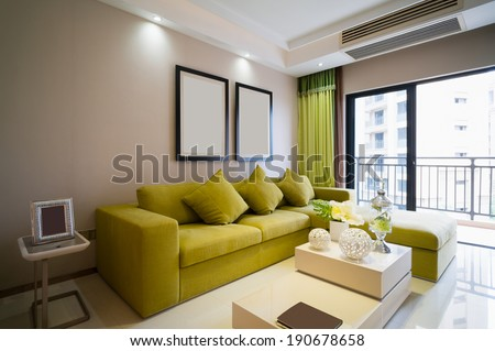 modern living room with nice decoration - stock photo