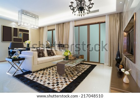 modern living room with nice design and decoration - stock photo