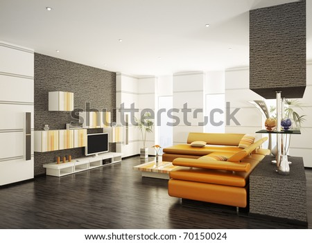 Modern living room with orange sofa and LCD interior 3d render - stock photo