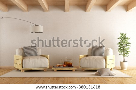 Modern living room with pallet armchairs and coffee table - 3D Rendering - stock photo