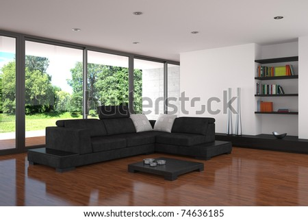 modern living room with parquet floor - stock photo