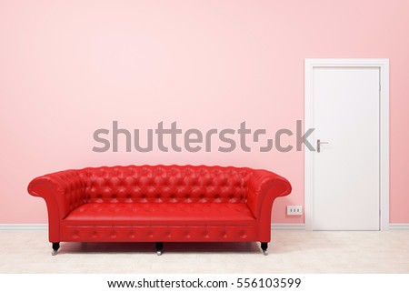 Modern Living Room Red Sofa Pink Stock Illustration 556103599 ...