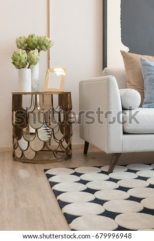 Modern Living Room With Set Of Pillows On Sofa, Interior Design Concept Part 66