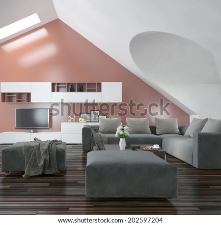Modern living room with sloping apex walls and ceiling with skylights, a wooden parquet floor, modern grey furniture and a salmon pink accent wall