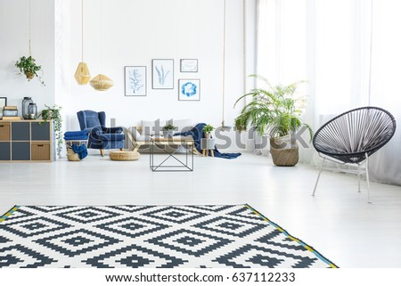 Modern living room with sofa, round chair and pattern carpet