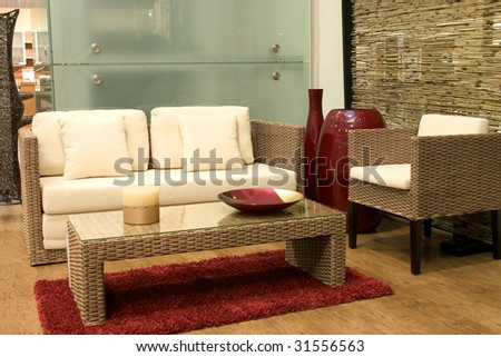 Modern living room with sofas from rattan and arm chair. - Rattan Furniture Stock Images, Royalty-Free Images & Vectors