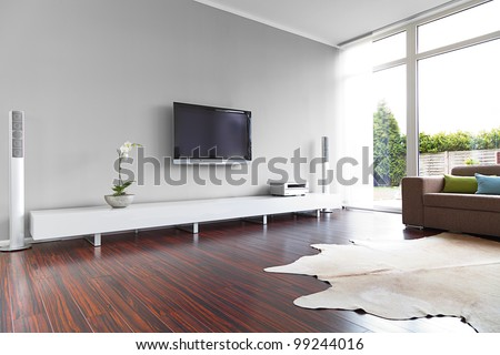 Modern Living Room With TV And Hifi Equipment