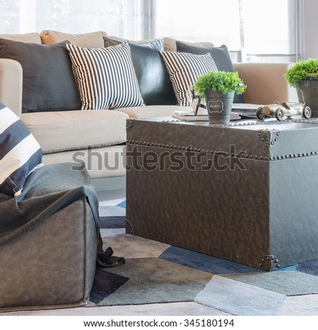 modern living room with vase of plant on table and modern sofa at home