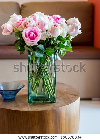 Modern Living room with vase of roses