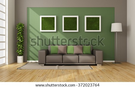 Modern living room with vertical grass in frame on wall - 3D Rendering - stock photo