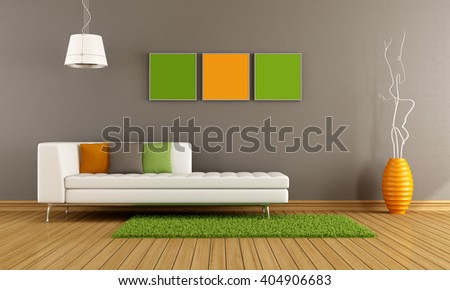 Modern living room with white couch and colorful cushion -  3d rendering