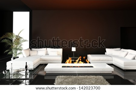 Modern Living room with white couch and fireplace - stock photo