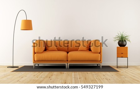 Modern Living Room With White Wall, Orange Couch And Floor Lamp   3d  Rendering
