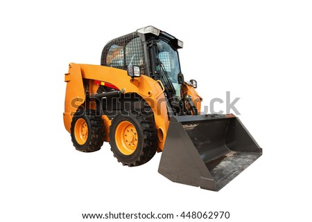 Modern loader excavator construction machinery equipment isolated over white background with clipping path - stock photo