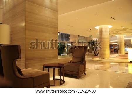 Modern lobby for five stars hotel - stock photo