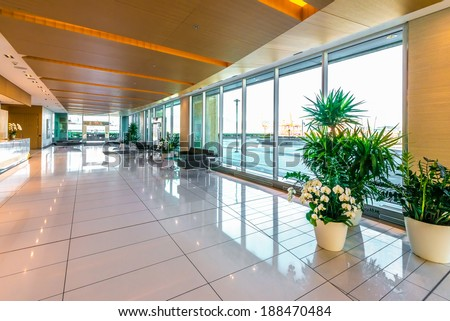 Modern lobby, hallway  of the five stars luxury hotel, business center in Vancouver, Canada. Interior design. - stock photo