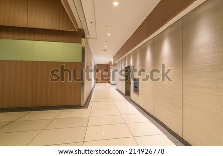 Modern lobby, hallway of the luxury hotel, business center, shopping mall in Vancouver, Canada. Interior design.