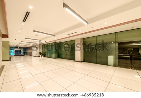 Modern lobby, hallway, plaza of the five stars luxury hotel, shopping mall, business center. Interior design.