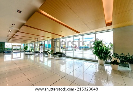 Modern lobby, hallway, plaza of the five stars luxury hotel, shopping mall, business center in Vancouver, Canada. Interior design. - stock photo