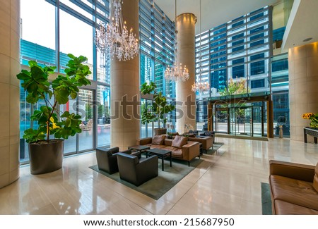 Modern lobby, hallway, plaza of the luxury hotel, shopping mall, business center in Vancouver, Canada. Interior design. - stock photo