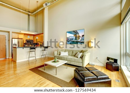 Modern loft apartment living room interior with kitchen and high ceiling. - stock photo