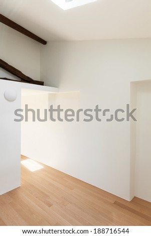modern loft, empty room with white walls