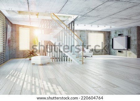 Modern loft  interior. Contemporary design concept 3d - stock photo