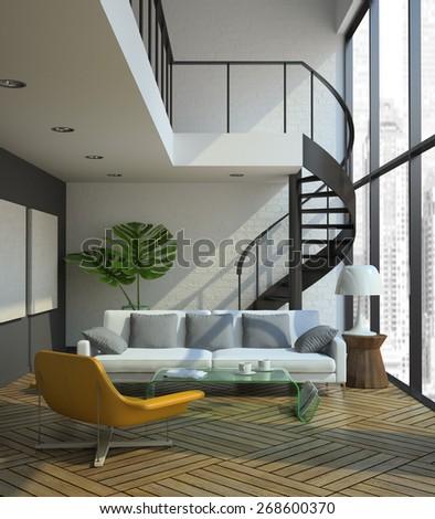 modern loft interior 3D rendering - stock photo