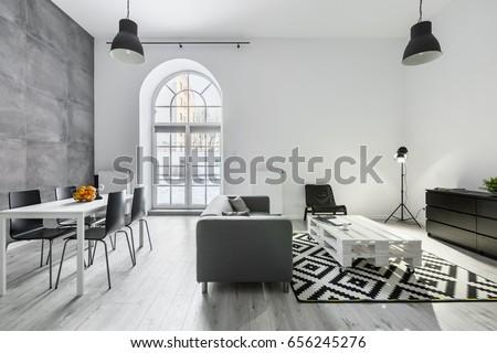 Modern loft interior sofa dining table stock foto 656245276