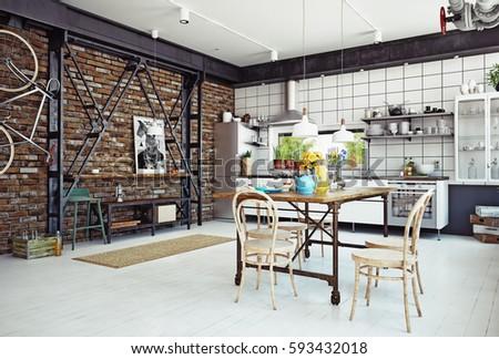Nice Modern Loft Kitchen Interior. 3d Rendering Concept