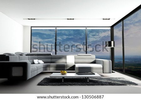 Modern Loft with Landscape View | 3D Interior Room