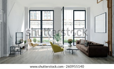 Modern loft with retro details (3 D render) - stock photo