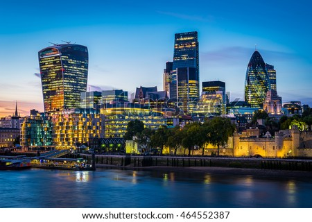 Modern London cityscape in night