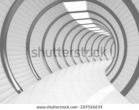 Modern long tunnel - stock photo