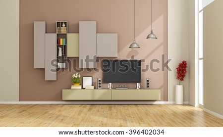 Modern lounge with colorful wall unit and tv set - 3D Rendering - stock photo