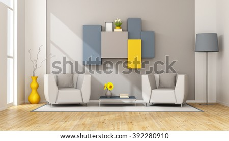 Modern lounge with two armchair and wall unit on wall - 3D Rendering - stock photo