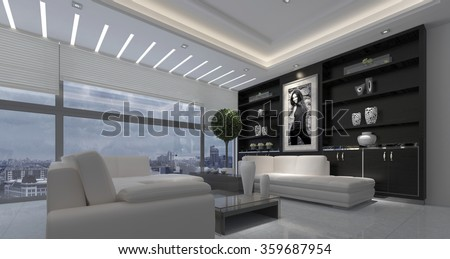 Modern luxurious open plan living room interior in a stark black and white decor with down lights and a large view window overlooking a city. 3d rendering.