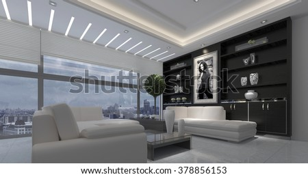 Modern luxurious open plan living room interior in a stark black and white decor with down lights and a large view window overlooking a city. 3d rendering. 3d Rendering.